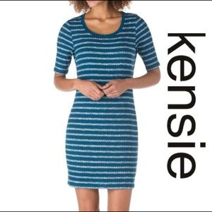 NWT Kensie Knit Bodycon Dress Size Med Teal &White